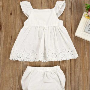 BABY GIRL WHITE DRESS WITH SHORTS SET